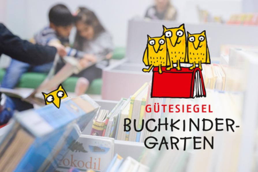 Logo des Gütesiegels Buchkindergarten